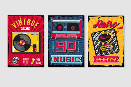 Vintage backgrounds collection. Music poster sets. Retro party template. Vector graphic design pack.