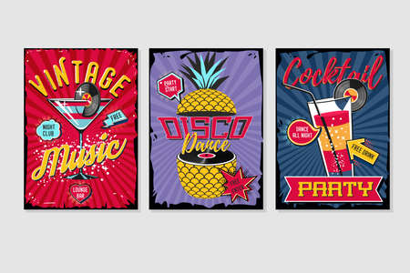 Retro party template. Music poster sets. Vintage backgrounds collection. Vector graphic design pack.