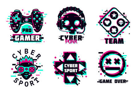 Game team emblem set. Glitch style vector signs. Cyber punk illustration set. Virtual reality sport icons.