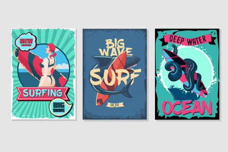 Nautical vintage posters set. Retro style cartoon illustrations. Water sport and sea resort backgrounds with grunge frames. 向量圖像
