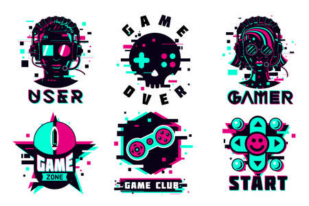 Game team emblem set. Glitch style vector signs. Virtual reality sport icons. Cyber punk illustration set.