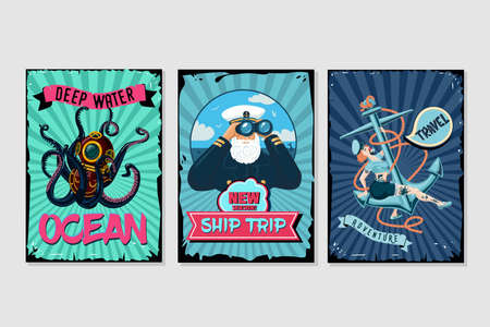 Nautical vintage posters set. Retro style cartoon illustrations. Water sport and sea resort backgrounds with grunge frames. Captain, sailor and octopus. 向量圖像