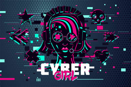 Cyber punk woman. Girl gamer portrait. Video games background, glitch style. Female online user. Vector illustration.