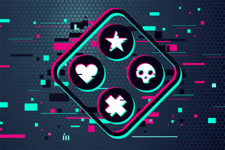 Game team emblem. Glitch style vector background. Cyber punk illustration. Virtual reality sport banner.