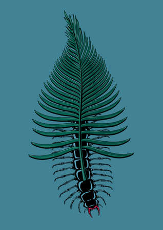 Scolopendra bug with tropical leaf. Insect with palm tree. Tattoo style vector print. Poster with beetle and exotic flora. Mimicry concept.