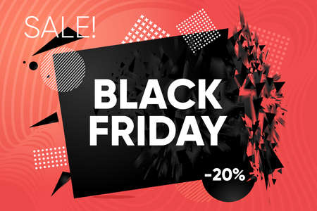 Black Friday banner. Discount and sale label. Abstract explosion shape with black particles. Bang futuristic design element with modern graphic. Modern style.