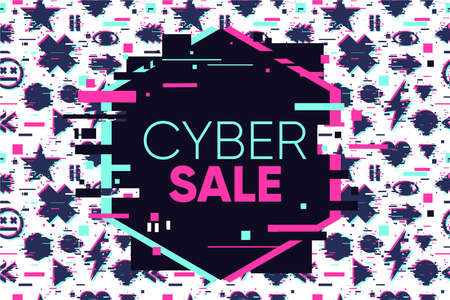 Cyber sale glitch banner. Abstract vector background. Holiday market discount. Business template.