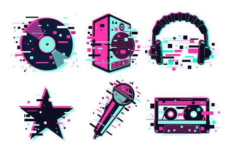 Music vector icon set. Glitch audio sign collection. Sound equipment. Design elements isolated on white.