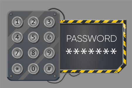 Electronic lock with password. Access control device. Sign window cyberpunk style. Account login vector background. 向量圖像