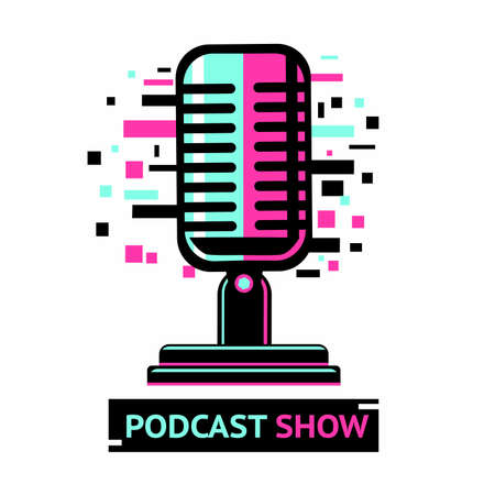 Podcast show icon. Microphone symbol with glitch effect. Sound speaker illustration.