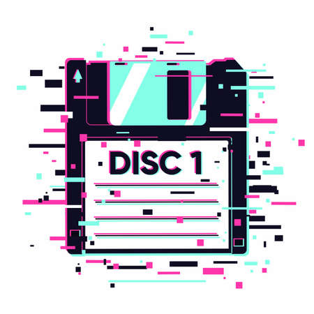 Floppy disc with glitch effect. Information data concept. Retro diskette with neon colors.