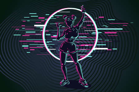 Young girl silhouette with glitch style effect. Dancing woman modern style illustration. Female hologram digital art. Cyberpunk illustration.