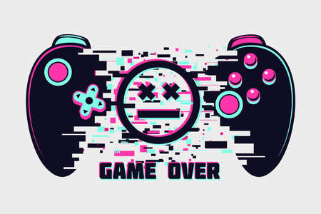 Video game gamepad with glitch effect. Cyberpunk style illustration. Virtual reality concept. Cyber sport online tournament. Vector illustration.