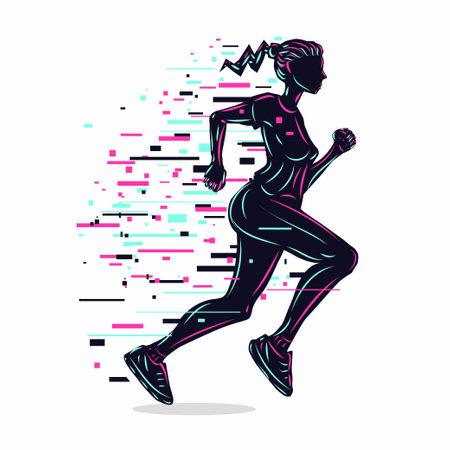 Running girl silhouette. Woman run vector illustration. Glitch style. Sport background. Ilustração
