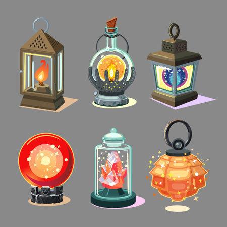 Magic lantern set. Fantasy lamp collection. Game design concept, ui asset. Cartoon style icons.