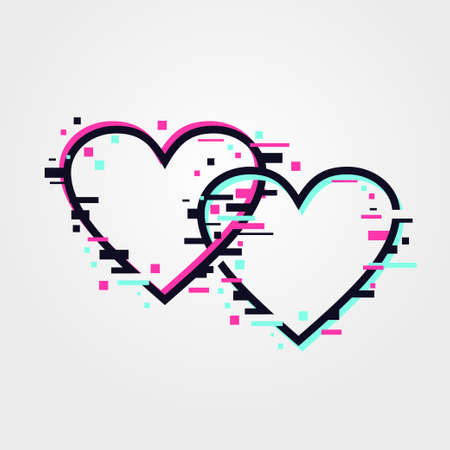 Glitch hearts. Online dating service concept. Love symbol, vector shape. Flat icon