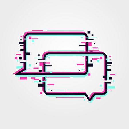 Online communication icon. Glitch speech bubbles. Vector glitched banners. Web messaging illustration. Ilustração