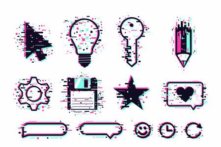 User interface symbols, glitch style on white.