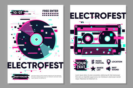 Posters set with vinyl record and audio cassette