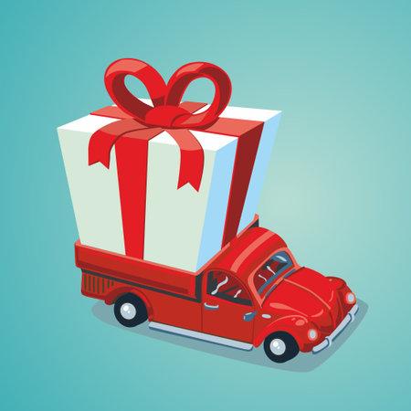 Red car with a present illustration. Ilustração