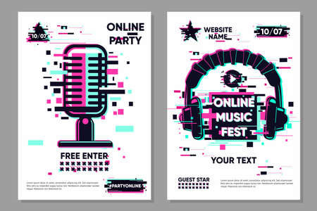 Music festival vector banner. Posters set with microphone and headphones. Online party background, electronic style. Streaming banner. Glitch trendy illustration. Ilustração