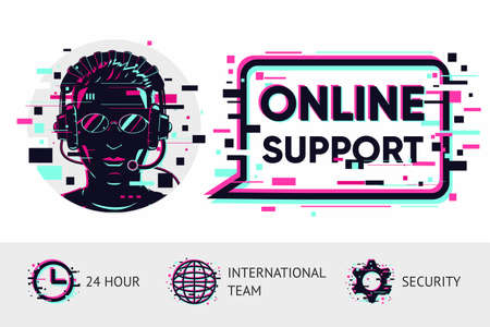 Online support vector background. Man operator portrait. Glitch style illustration. Chat bot concept.