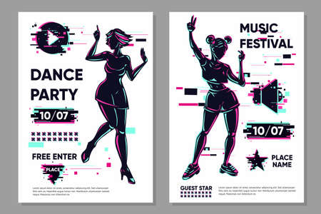 Posters set with dancing girls. Dance festival banner template. Party background with woman silhouette. Glitch style trendy illustration. Night club flyer.