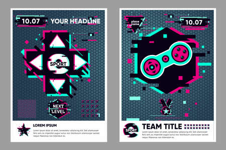 Cyber sport poster. Video game flyer. Electronic games backgrounds. Glitch style banner for web event. Vector illustration, neon colors