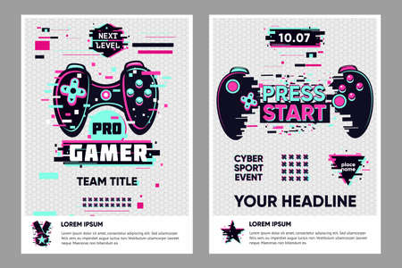 Video game posters set. Gamer competition banners template. Glitch style graphic with console gamepad. Vector flyer template for cyber battle.