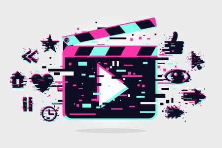 Cinema background. Vector banner with movie objects. Online video backdrop. Glitch style image with clapperboard. Color illustration. 向量圖像
