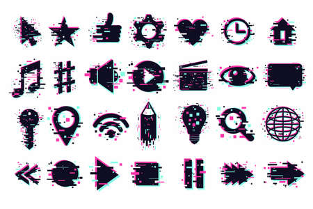 Web icons set. User interface symbols, glitch style. GUI elements isolated on white. Vector clipart collection for mobile app.