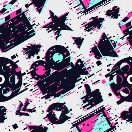 Cinema seamless pattern. Vector texture with movie objects. Online video backdrop. Glitch style background with camera, clapperboard and film.