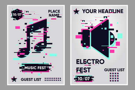Music festival vector banner. Posters set with music note and audio. Party background, electronic style. Glitch trendy illustration. Dance event banner template.