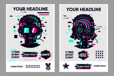 Video game posters set. Gamer competition banners template. Glitch style graphic with people. Vector flyer template for cyber battle. Ilustração