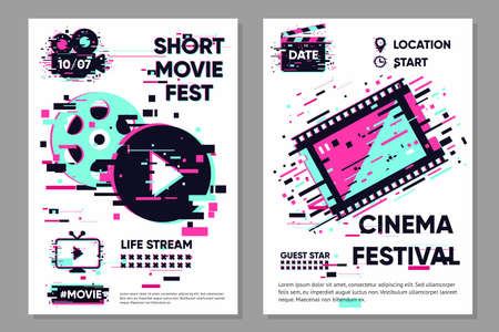 Cinema poster template. Vector banner with movie objects. Online video backdrop. Glitch style image with film. Color illustration.