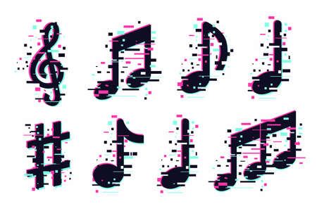 Music notes icons set. Vector musical signs isolated on white. Modern sound concept, trendy illustration. Glitch style symbols collection. Imagens - 162467884