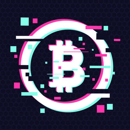 Crypto currency coin. Vector emblem. Blockchain technology background. Digital financial icon, glitch style.