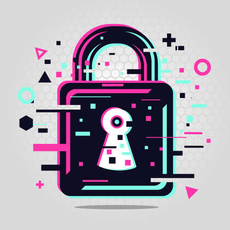 Padlock glitch style. Cyber security emblem. Lock vector icon. 向量圖像