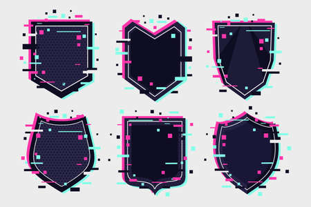 Shields icon set. Coat of arm collection. Glitch style vector emblem. 向量圖像