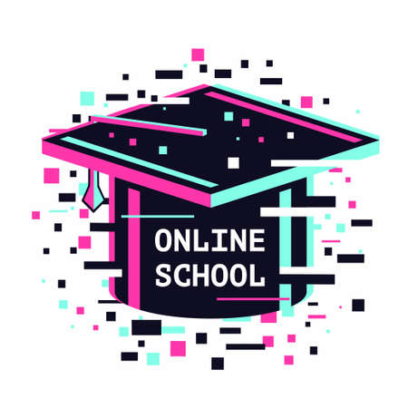 Online school icon. E-learning emblem. Internet study concept. Digital university vector illustration. 向量圖像