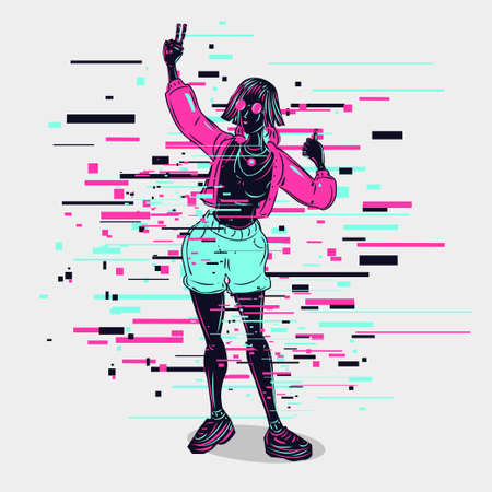 Beautiful girl vector illustration. Female figure with neon colors. Beauty woman posing. Glitch style cyberpunk people. 向量圖像