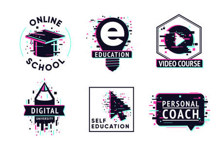 E-learning emblem set. Internet study concept. Digital university vector illustration. Online school icon set.