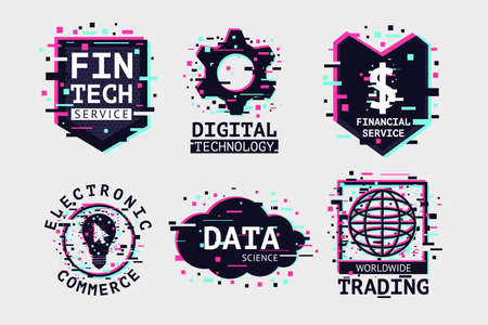 Fintech emblem set. E-commerce icon collection. Banking technology vector signs.