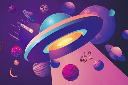 Ufo cartoon background. Space vector illustration with stars and plantes. Spaceship concept.
