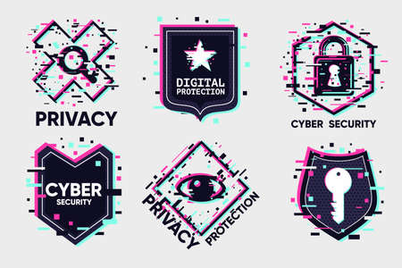 Cyber security icon set in glitch style. 向量圖像