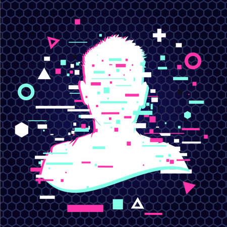 Anonymous vector icon. Incognito sign. Privacy concept. Human head with glitch face. Personal data security illustration. Gamer profile avatar. Ilustración de vector