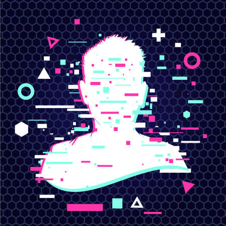 Anonymous vector icon. Incognito sign. Privacy concept. Human head with glitch face. Personal data security illustration. Gamer profile avatar. Illustration