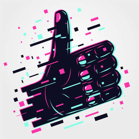 Hand sign. Human arm, like icon. Glitch style illustration. Neon color vector background. Fingers symbol. Signs language.