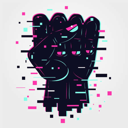 Hand sign. Human arm, power icon. Glitch style illustration. Neon color vector background. Fingers symbol. Signs language.