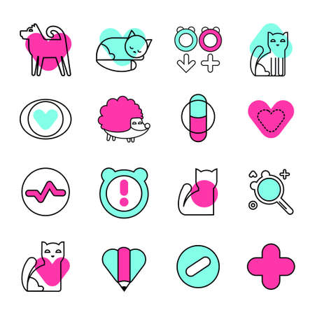 Veterinary vector icons set. Animal medical service signs collection. Flat style illustrations.